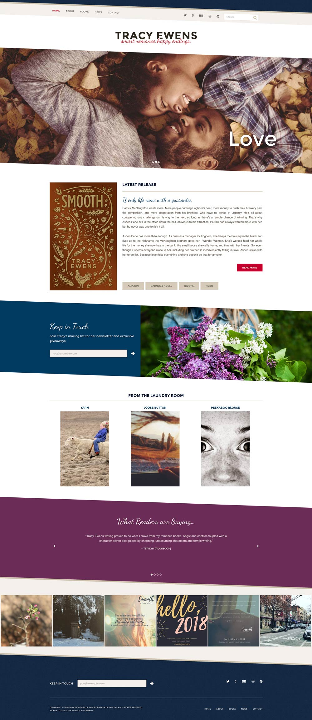 Tracy Ewens' website home page
