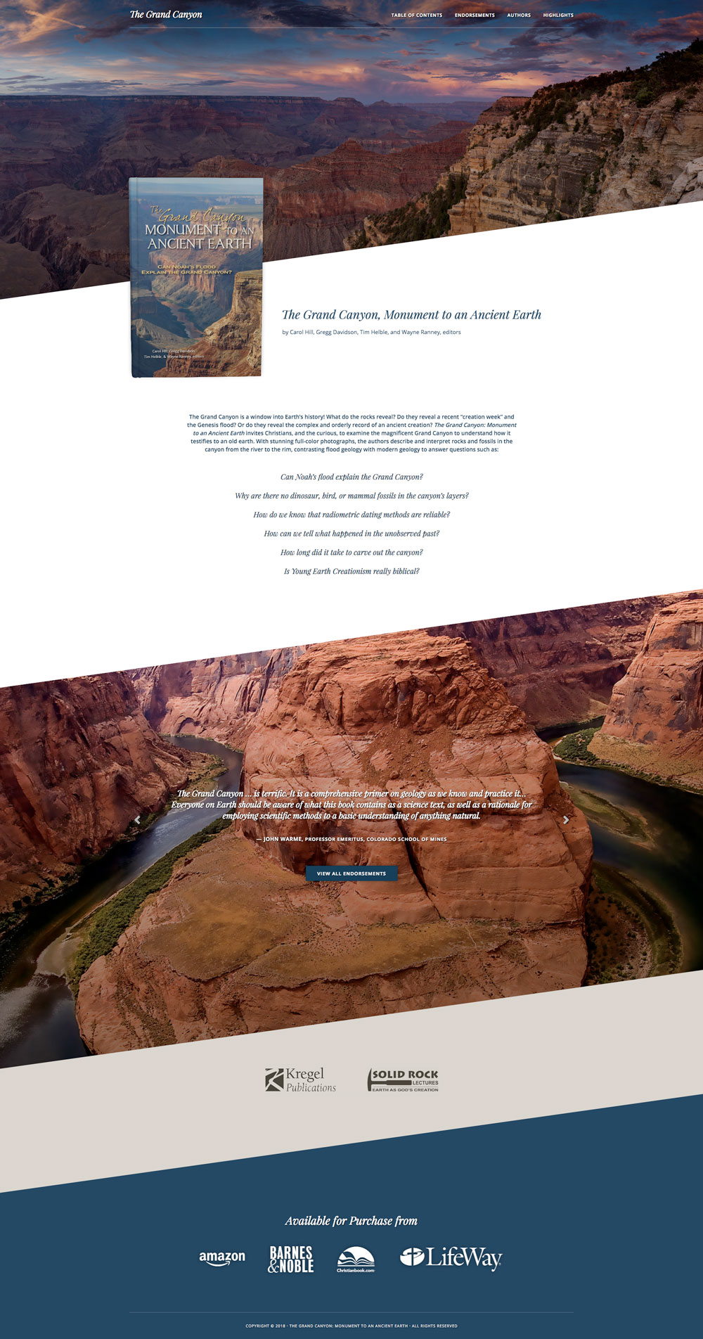 The Grand Canyon website home page