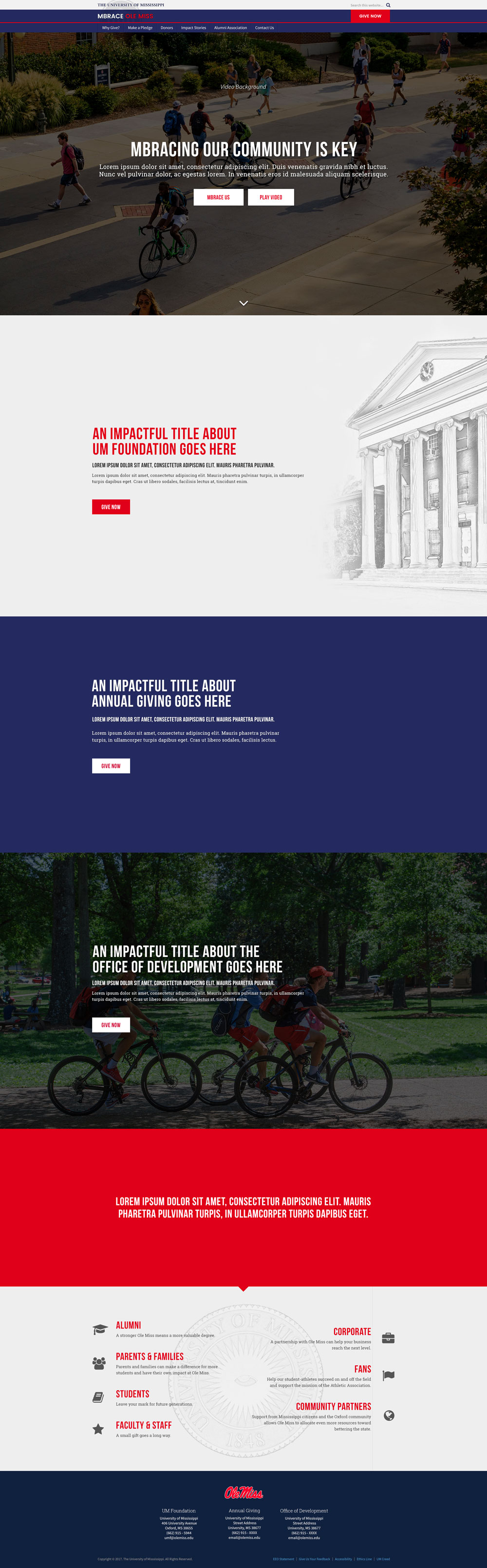 Office of Development home page mockup