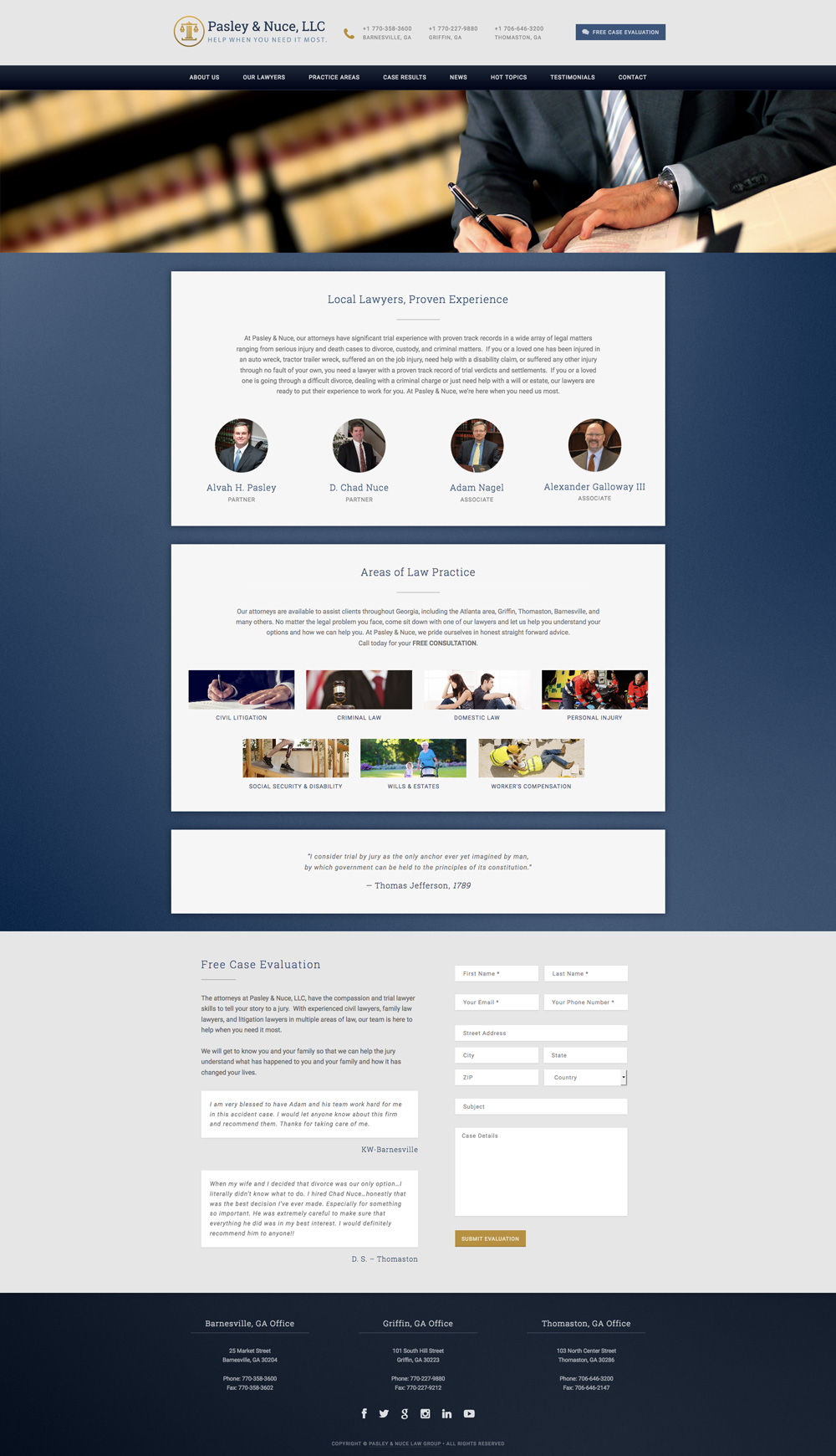 Screenshot of Pasley & Nuce, LLC website home page