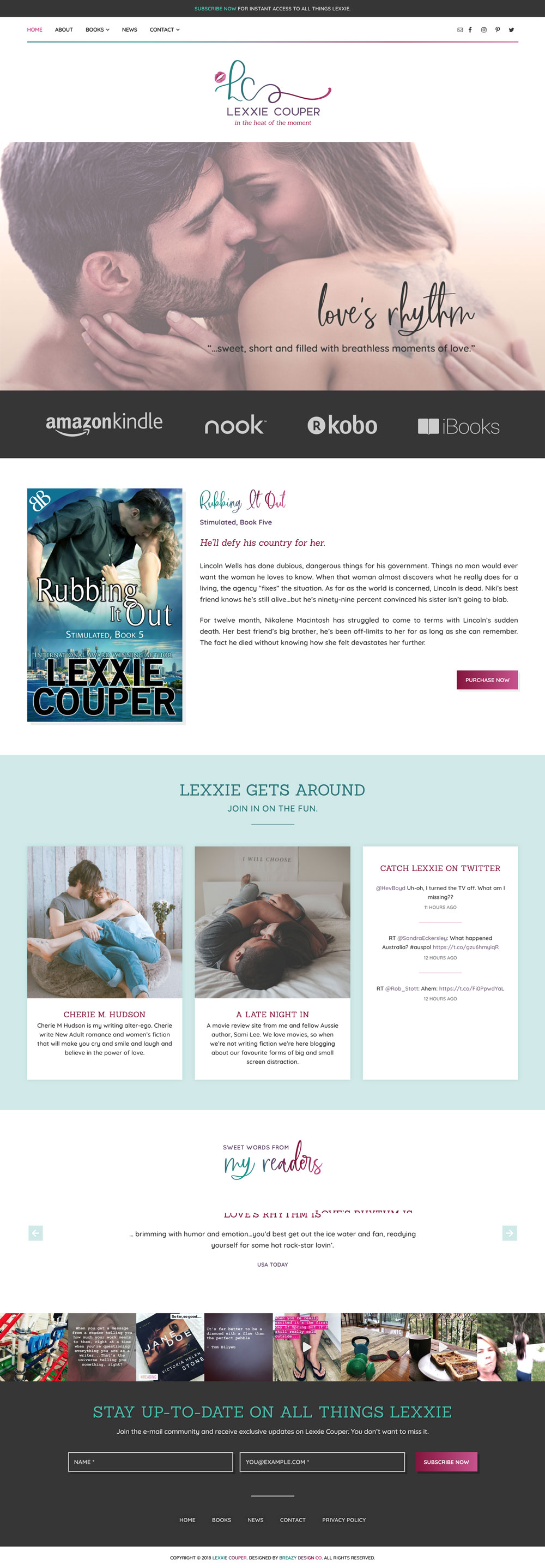 Screenshot of Lexxie Couper's website home page